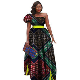 tutus for plus size women Australia - African Bazin Riche Print Dresses for Women Party One-shoulder Long Tutu Dress Vestidos Plus Size African Women Clothing WY2729