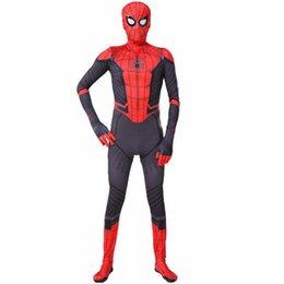 Spider man cosplay trajes de halloween para menino da menina dos homens preto superhero atacado de alta qualidade crianças adulto spiderman regresso a casa ternos venda por atacado