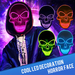 Full Face mask scary online shopping - Scary Skeleton Mask Halloween LED Skull Mask Carnival Cosplay Masquerade Parties EL Mask Halloween Horror Masks