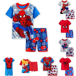 vest sleepwear Australia - 8 styles Spiderman kids clothes Baby Boys Short Sleeve Pajamas 2pcs Childrens Sleepwear Pijamas Sets Tracksuit children clothing DHL JY293