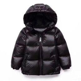 fd3353567 2018 Light Baby Girl Duck Down Jacket Boy Black Parkas Abajo Abrigo Cálido  Estudiante Niño Abrigo de invierno Cap Kids Clothes Overcoat 2-12 Y