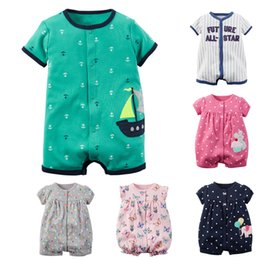 China Rompers Summer Girl Boys Clothing Sets Short Sleeve Newborn Baby Clothes Roupas Bebe Infant Jumpsuit Q190518 supplier boy girls lycra clothing suppliers