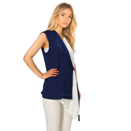 $enCountryForm.capitalKeyWord UK - 2019 European Fashion Women Blue Black Sleeveless Shirt Blouse With Sashes V Neck Lady Stylish Feminine Shirt chemise femme F306