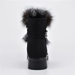 906dd1063cb New Fashion Luxury Fox Fur Metal Chain Snow Boots Women Platform Soft Wedge  Heels Winter Thick Plush Women Ankle Boots