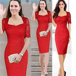 Sexy Party Clothes For Women Australia - New Fashion Sexy Red Party Clothes Dresses for Women Square Collar Short Sleeve Lace Bodycon Dresses Women Summer Women Clothing