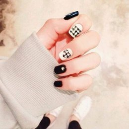Discount patterned acrylic nail tips - Manicure Finished 24 Pcs Fake Nails Wholesale Manicure Patch Black and White Houndstooth Pattern False Nail