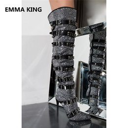 Wholesale New Full Crystal Studs Women Thigh High Boots Pointed Toe Buckle Rivets Gothic Shoes Sexy High Heels Ladies Over Knee Long Boots