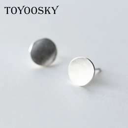 wholesale 925 round stud earrings UK - TOYOOSKY 2017 New Arrival 925 Sterling Silver Simple Round Push Back Stud Earrings For Women Fashion Jewelry Wedding Gift