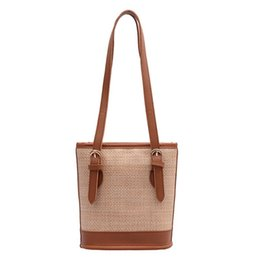straw hands bag Australia - Summer Straw Woven Shoulder Bag Tote Simple Portable Bucket Small Hand Bags Fashion outdoor handbags