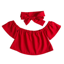 $enCountryForm.capitalKeyWord Australia - Floral Toddler Baby Girl Clothing Tops Kids Off Shoulder Ruffle T-Shirts Short Sleeve Headbands Cute Summer Clothes Outfits