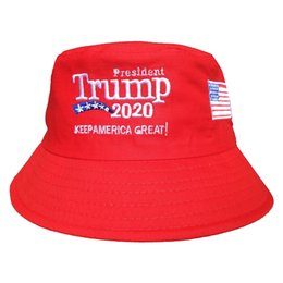 China Trump 2020 Embroidered Bucket Cap Keep America Great Hat Cotton Sport Fisherman Cap Fashion Travel Camping Sun Hat 20pcs TTA896 cheap multi color hat suppliers