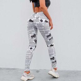 Femmes Leggings Journal Lettres Imprimé Pantalon Taille Haute Entraînement Fitness Pantalon