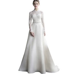 China Organza A Line Vintage Wedding Dresses with Lace Crystal 2019 Long Sleeves Bridal Gowns Vestidos De Novia cheap high collar vintage wedding dresses suppliers