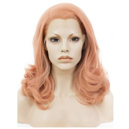 synthetic fiber lace wigs UK - High Quality Lace Front Wig Wavy Medium Length Rose Pink Wigs For Women Heat Resistant Fiber Hair Synthetic Lace Wig Glueless Cosplay Hair