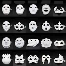 White bauta mask online shopping - Paper DIY Party Mask White Painting Halloween Chirstmas Party Mask Children DIY Creative Masks Kindergarten Painting Mask