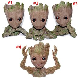 Discount baby pots - Fashion Guardians of The Galaxy Flowerpot Tree Man Baby Groot Action Figure Pen Container Doll Cute Model Toys The Aveng