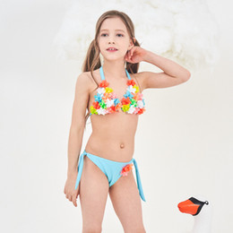 3d swimwear 2019 - Girl 2 Pcs Set Bikini 2019 Summer Girl Split Swimsuit Kids 3D Flowers Swimwear Children Girls Beach Clothing Kid Bathing