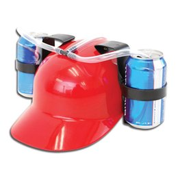 Wholesale Drinking Beer Cola Miner Hat Lazy lounged Straw Cap Birthday Party Cool Unique Toy Prop Holder Guzzler Beverage Helmet