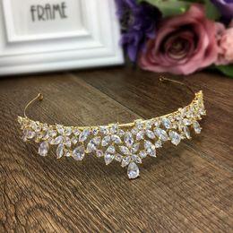 $enCountryForm.capitalKeyWord NZ - Gold Full Cubic Zircon Tiara Zirconia Crown CZ Diadema Coroa De Novia Wedding Hair Accessories Jewelry Bijoux Cheveux WIGO1028 C18112001