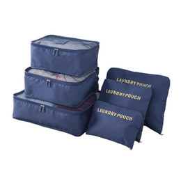 $enCountryForm.capitalKeyWord Australia - 6PCS Travel Storage Bag Set For Clothes Tidy Organizer Wardrobe Suitcase Pouch Travel Organizer Bag Case Shoes Packing Case