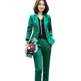 pink suit jacket women UK - High-quality Women casual green Pant Suit soft fabric 2 Piece Set Uniform Designs Jacket and Pant Red Pink Purple White