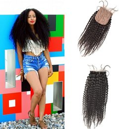 Shed Base NZ - Top Quality Silk Base Closure 4x4 Afro Kinky Curly Hidden Knots Free Part 10-30inch In Stock No Tangle No Shedding G-EASY