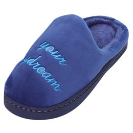 $enCountryForm.capitalKeyWord UK - Men Warm Letter Plush Soft Slippers Indoors Anti-slip Floor Bedroom Shoes Home Slippers Short Plush Warm Soft Cotton