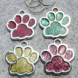 zinc alloy tags NZ - 100pcs lot Paw Shaped Dog ID Tags Paw Zinc alloy Blank Pet Dog ID Tags Wholesale
