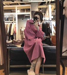 $enCountryForm.capitalKeyWord Australia - 2019 new hot sale network red high collar long sweater cardigan coat female knees loose autumn and winter thick lazy wind knit dress pink