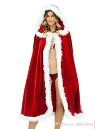 $enCountryForm.capitalKeyWord UK - Women Halloween Adult Costume Party Cosplay Christmas Cloak Santa Claus Red Velvet Long Capes Christmas Party Dress Supplies