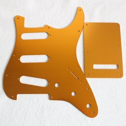 Gold Plates Electric Australia - DIY new electric guitar all aluminum brushed gold guard plate rear cover set 11 set with screw accessories