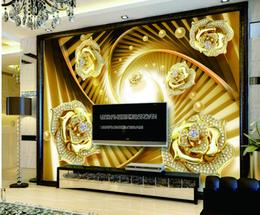 $enCountryForm.capitalKeyWord NZ - Rotating Diamond Gold Flower Jewelry Wall Digital Printing HD Decorative Beautiful Wallpaper