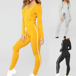 gym clothes wholesalers women NZ - Vertvie 2019 Slim Running Set Long Sleeve Women Gym Clothes Hoodies Zipper Pullove Sports Set Workout Stripe Sport Yoga Pants