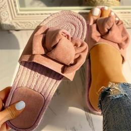 $enCountryForm.capitalKeyWord Australia - LOOZYKIT Women Slippers Indoor Outdoor Linen Flip-flops Beach Women Shoes Bow Summer Sandals Female Floral Flat Sandals