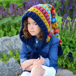 crochet long tail hats NZ - Winter Thickened Warm Hats Children's Wool Crochet Hats Rainbow Long Tail Hat Girl Colorful Princess Caps RRA2138