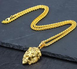 14k Gold Lion Head Pendant Australia - 18K Gold Plated Men Woman Hip-hop lion head necklace pendant