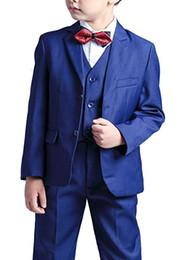 $enCountryForm.capitalKeyWord Australia - Boy Suit Notch Lapel Custom Made Blue Kid Suit Wedding  Prom Dinner Leisure show Children suit ( Jacket+Pants+Vest+Shirt+Tie ) M1356