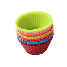 cupcake cakes designs UK - Silicone Liners Baking Mold 6 Designs Home Muffin Cases 7CM Round Shaped Cupcake Mold Bakeware Baking Tools 100 Pieces DHL