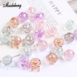 Chinese  15pcs bag Acrylic Beads Lovely Rabbit Glitter Transparent Half Hole Beads For Jewelry Making Handmade Pendants Design Girl Gifts manufacturers