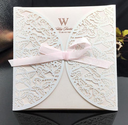 $enCountryForm.capitalKeyWord NZ - Customize Wedding Invitation Cards Lace Hollow White Elegant Solid Invitations Pocket Square Bow Laser Cut Invitations Cards