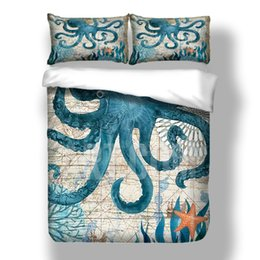 $enCountryForm.capitalKeyWord Australia - Blue ocean animals Bedding Set Twin Full Queen Size with Octopus Home Bedclothes for kids with pillowcase Bedding Suit