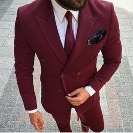 $enCountryForm.capitalKeyWord Australia - Brand New Groomsmen Double-Breasted Groom Tuxedos Wine Men Suits Wedding Prom Dinner Best Man Blazer ( Jacket+Pants+Tie) NO:1305