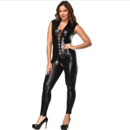 pvc bodysuit xxl Australia - Plus Size Women Sexy Faux Leather Jumpsuit Night Club Bodysuit Adult Latex PVC Catsuit Sleeveless Open Crotch Erotic Clubwear