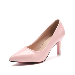 Elegant Pink Shoes NZ - Designer Dress Shoes Women Sweet Pearl Pink Patent Leather Autumn Women Pumps Elegant Sandals Woman Pointed Chain Ladies High Heels