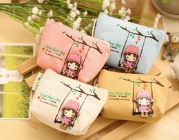 Canvas Coin Gift Bags Wholesale Australia - 2016 New Coin purse canvas key holder wallet small Christmas gifts bag clutch handbag K2945