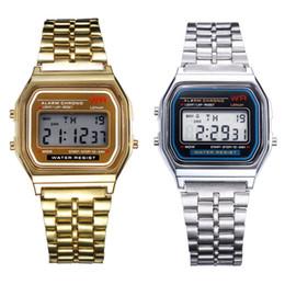 Men Digital Wrist Watches Australia - Best hot!!! 2017 business mature men watch 2PC Gold & Silver Stainless Steel Digital Alarm Stopwatch Wrist Watch Gift Dec 20