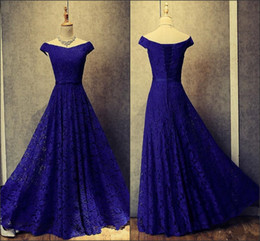 $enCountryForm.capitalKeyWord Australia - 2019 New Royal Blue Lace Off The Shoulder Evening Dresses Appliqued Lace Up Long Short Sleeves Prom Party Gowns Custom Made