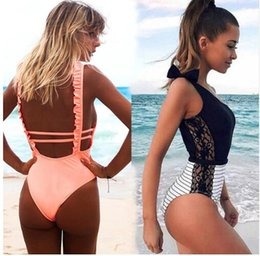 Wholesale red one piece swimsuit for sale - Group buy Sexy One Piece Swimsuit Women Summer Beachwear Lace One Shoulder Swimwear Bathing Suits Bodysuit Monokini Swimsuit