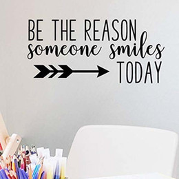 sticker cartoon smile UK - Be The Reason Someone Smiles Today Vinyl Removable Wall Stickers for Nursery Kids Room Bedroom Home Art Murals