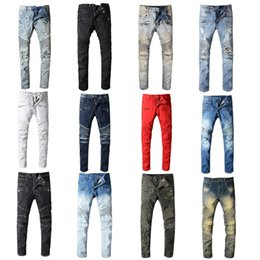 Toptan satış 2020 Balmain Erkek Sıkıntılı Biker Jeans Slim Fit Biker Motosiklet Denim İçin Erkekler Moda Tasarımcısı Hip Hop Erkek Jeans İyi Kalite Ripped